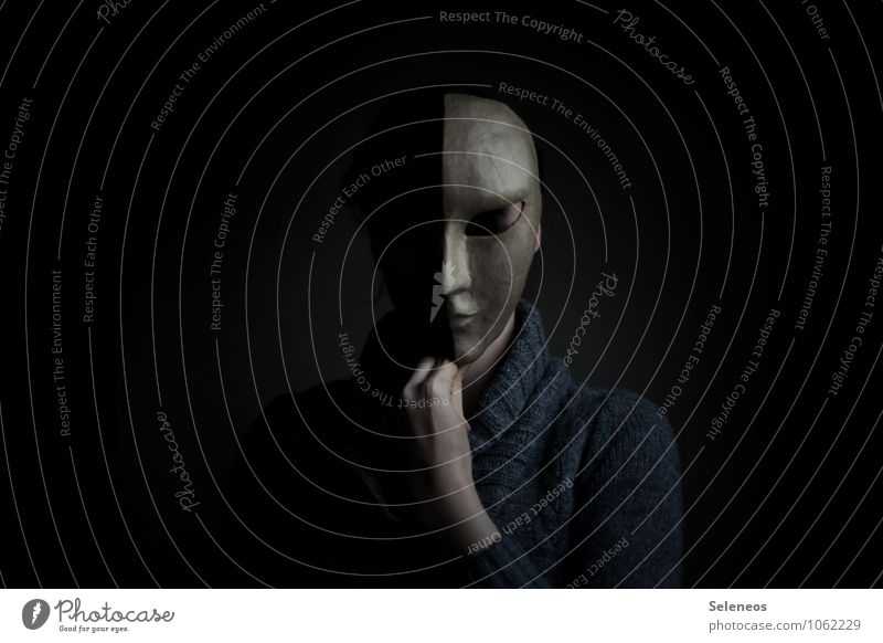Human being Loneliness Dark Head Fear Grief Carnival Creepy Mask Sweater Hallowe'en Schizophrenia