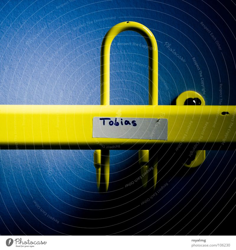 Tobi's already gone. Clothes peg Checkmark Empty Wallpaper Wall (building) Yellow Clothing Hang Tobias coat rack Shadow Metal Blue Contrast