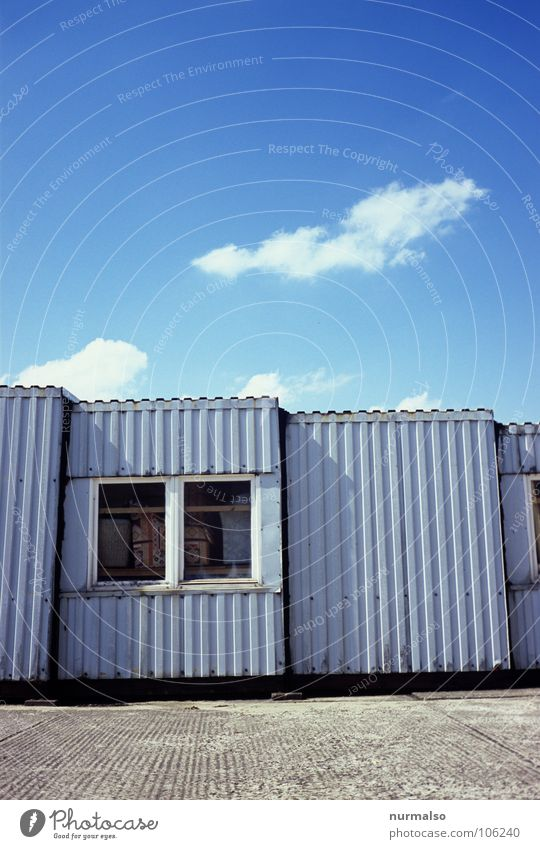 a line question Window Concrete Tin Clouds Small Large Together Gray Industry Blue Hut Container Sky stripped GDR emergency house construction worker's homes