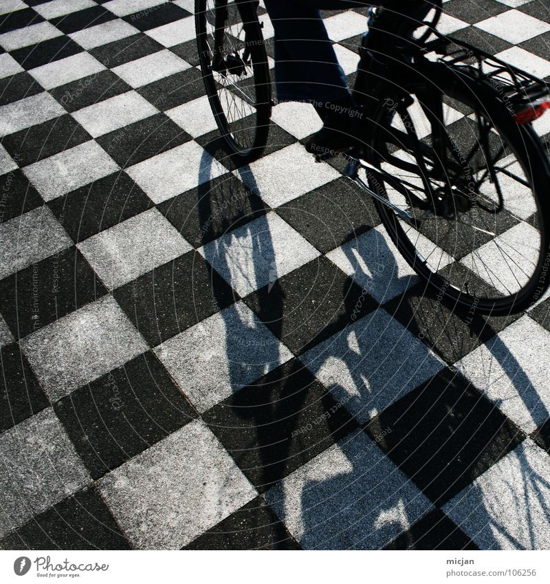Human being White Summer Black Street Playing Stone Bicycle Leisure and hobbies Arrangement Places Perspective Ground Floor covering Driving Point