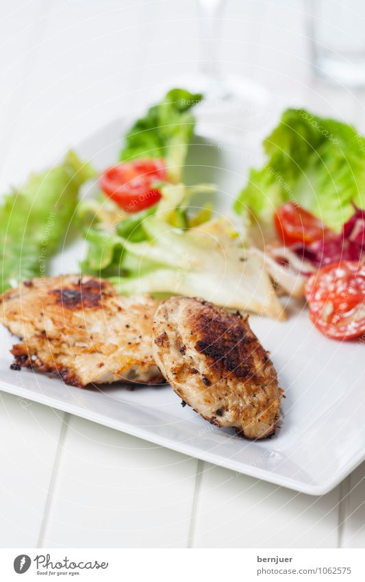 chicken breast Food Meat Lettuce Salad Nutrition Dinner Organic produce Plate Cheap Good Appetite fryers grilled grilled meat Chest Tomato Green salad