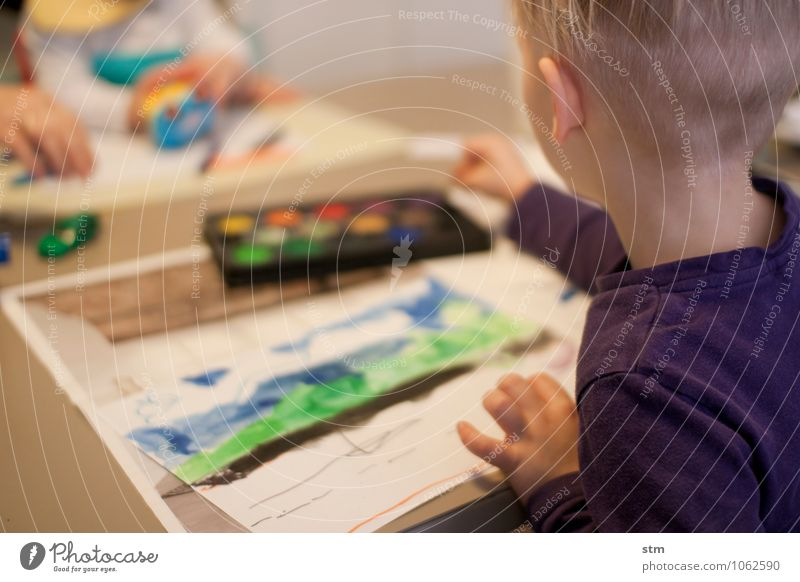 Human being Child Life Boy (child) Playing Art Family & Relations Leisure and hobbies Infancy Creativity Culture Painting (action, work)
