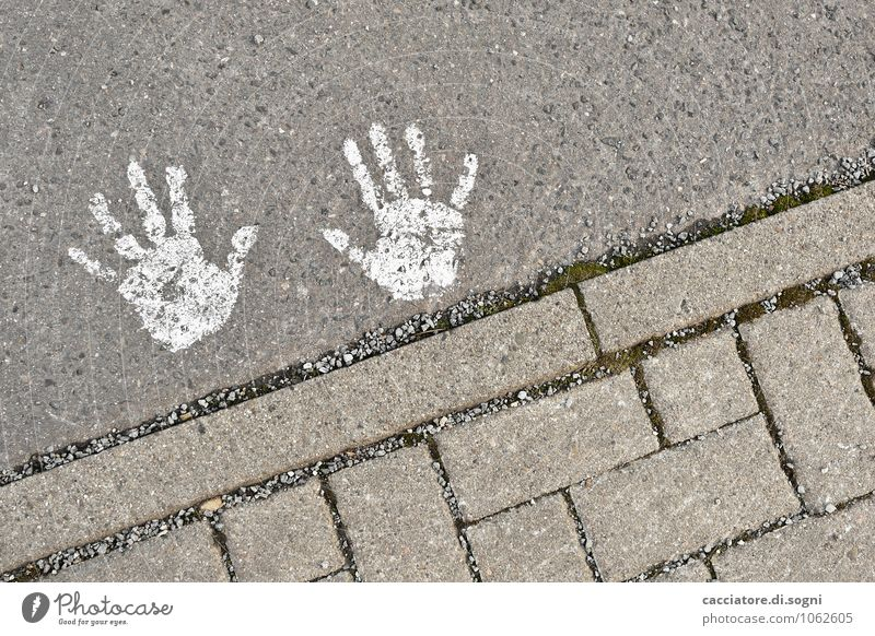 patch hands Traffic infrastructure Street Sign Hand handprint Simple Happiness Small Funny Cute Gray White Joy Optimism Friendship Mysterious Innovative Infancy
