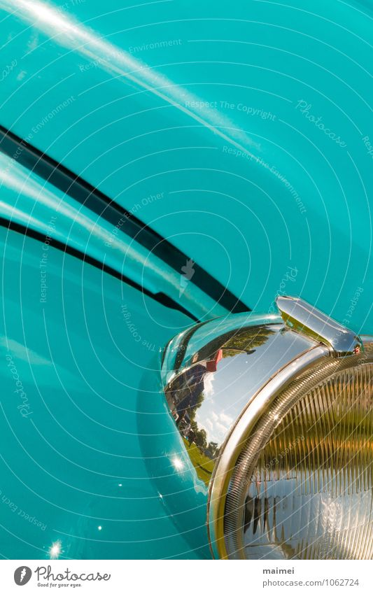 duck eye Design Lamp Means of transport Car Vintage car Old Retro Turquoise citroen 2CV Duck Chrome Car Hood Floodlight Fender Motor vehicle France French