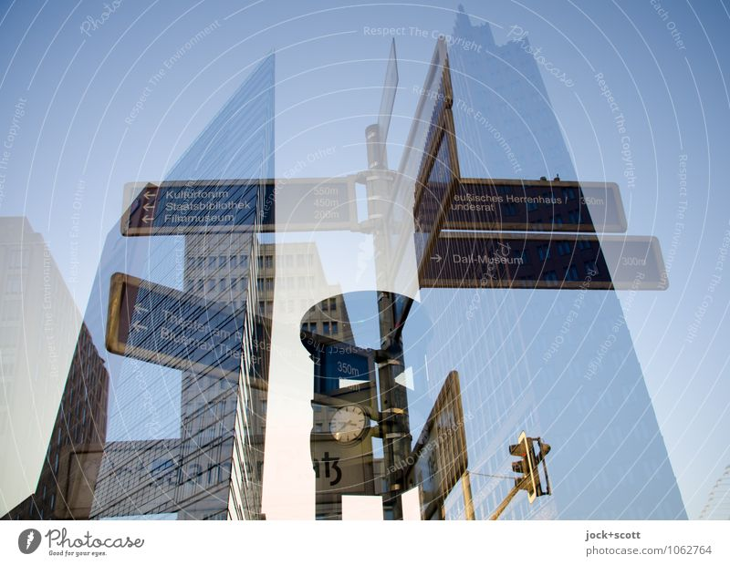 Time for ways Sightseeing Downtown Berlin High-rise Tourist Attraction Potsdamer Platz Clock Street sign Word Famousness Beginning Complex Network Planning
