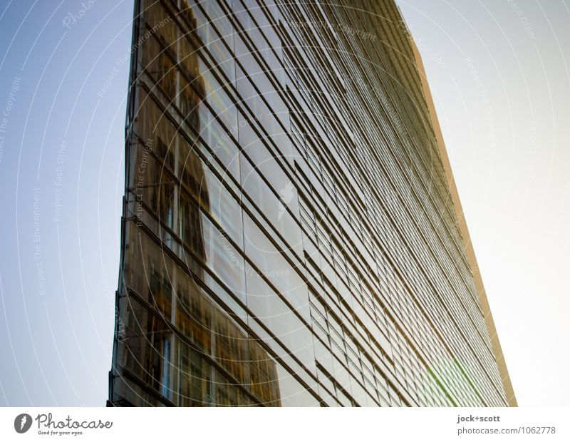 clearly edge Architecture Cloudless sky Downtown Berlin High-rise Glas facade Potsdamer Platz Line Corner Sharp-edged Large Long Modern Point Town Blue Yellow