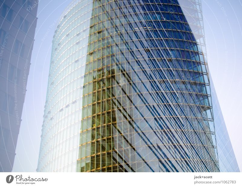 round edge Architecture Cloudless sky Downtown Berlin High-rise Glas facade Potsdamer Platz Line Corner Large Long Modern Town Blue Yellow Willpower Agreed