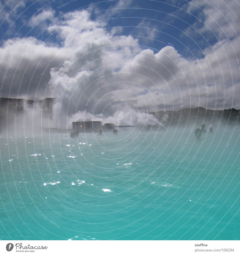 Steam Bath II Blue Lagoon Iceland Lake Relaxation Hot Physics Fog Clouds White Turquoise Swimming & Bathing Vacation & Travel Geyser Calm Perspiration Healthy