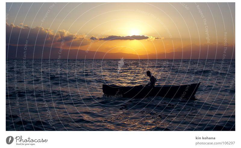 longings Far-off places Summer Sun Waves Aquatics Human being Man Adults Water Sky Clouds Horizon Lake Boating trip Fishing boat Rowboat Watercraft Free Power