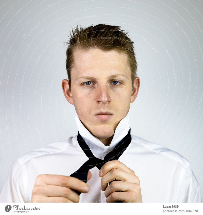 Human being Youth (Young adults) Man Young man 18 - 30 years Adults Hair and hairstyles Work and employment Masculine Business Office Blonde Success Clothing Observe Concentrate