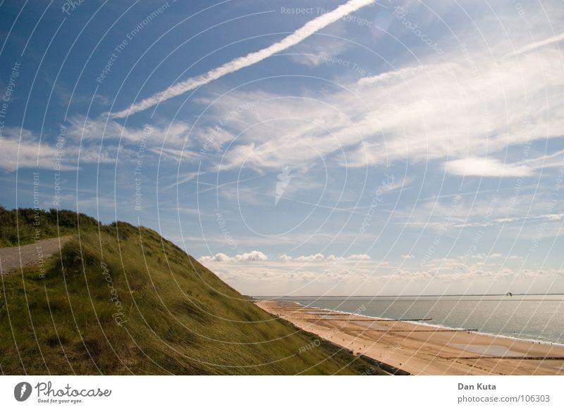 farsightedness Netherlands Zoutelande Walcheren Beach Waves Clouds Fine Grainy Long Low tide Wood Looking Exceptional Fantastic Spectacle Ocean Few Empty Water