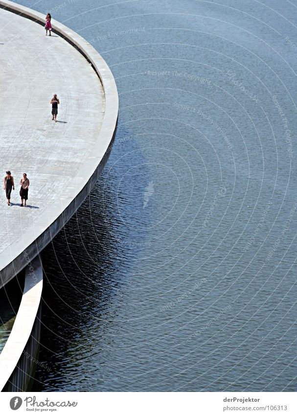 Half thing Concrete Gray Round Spain Bilbao 4 Waves Loneliness Neutral Gloomy Bridge Water Human being Blue guggenheim Museum Shadow Line