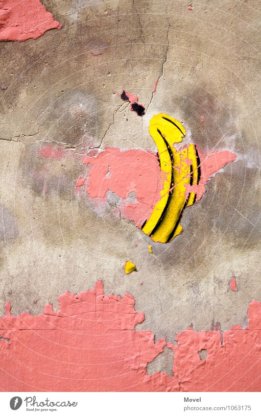 banana sprayer Art Work of art Architecture Town Wall (barrier) Wall (building) Facade Tourist Attraction Stone Concrete Sign Graffiti Famousness Simple Good
