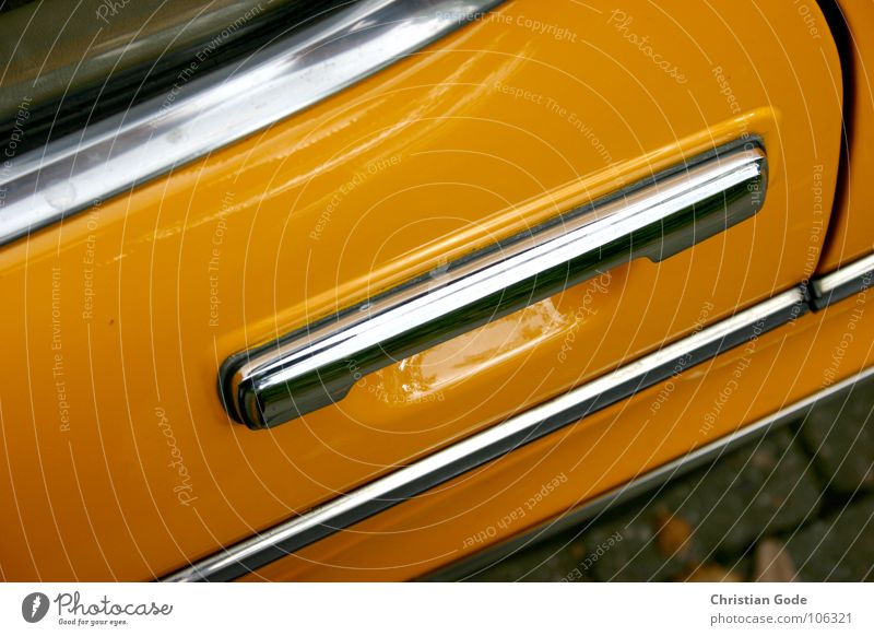 Get in and drive off Yellow Door handle Bird's-eye view Window Driving Vintage car Wood strip Things Leisure and hobbies Motorsports Car my brother Parking