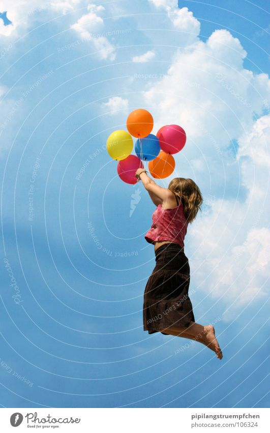 Girl Sky Joy Clouds Child Dream Lanes & trails Wind Flying Beginning Tall Balloon Goodbye Blue sky Multicoloured
