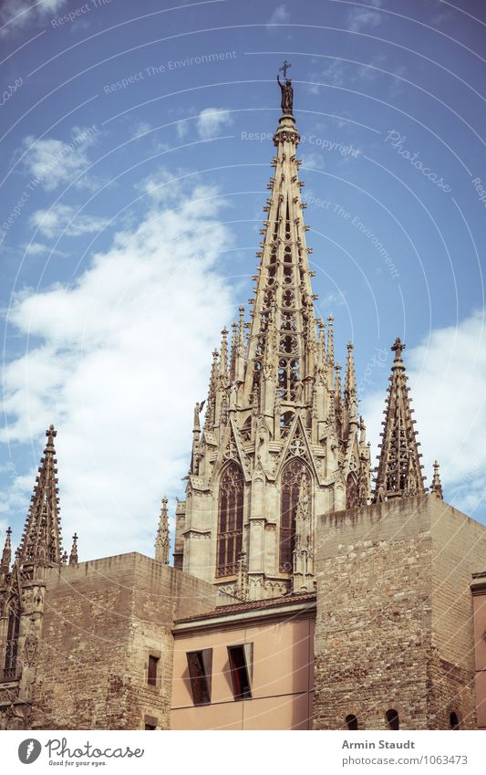 Cathedral of the Holy Cross, Barcelona Vacation & Travel Tourism Sky Summer Beautiful weather Town Downtown Old town Deserted Church Dome Tower Architecture