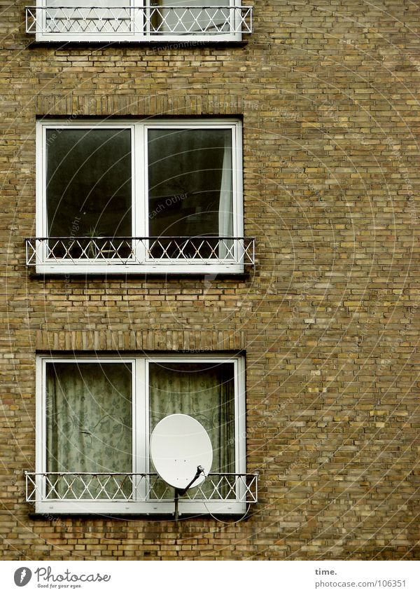 House (Residential Structure) Window Wall (building) Wall (barrier) Stone Idyll Gloomy Search Moving (to change residence) Balcony Television Brick Boredom