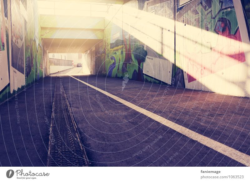 ray of hope Style Design Life Street Tunnel Passage Vanishing point Pink Yellow Brilliant Graffiti Street art Street life Putrefy Diagonal Stripe Lighting