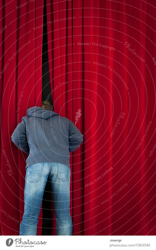 Man looks curiously behind curtain. Entertainment Event Stage Drape Theatre Human being Masculine Young man Youth (Young adults) 1 Culture Velvet Looking Stand