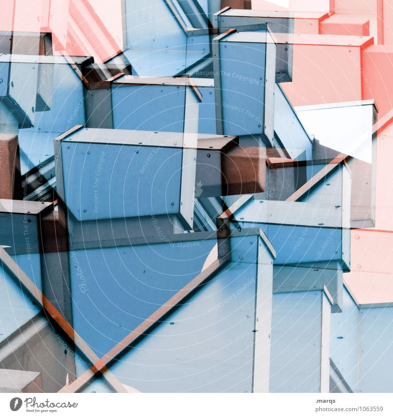 Blue Colour Architecture Style Building Facade Design Line Pink Bright Modern Arrangement Creativity Crazy Perspective Future