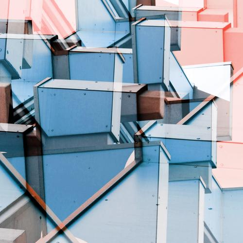 tilted Style Design Manmade structures Building Architecture Facade Concrete Line Sharp-edged Bright Hip & trendy Uniqueness Modern Crazy Blue Pink Colour