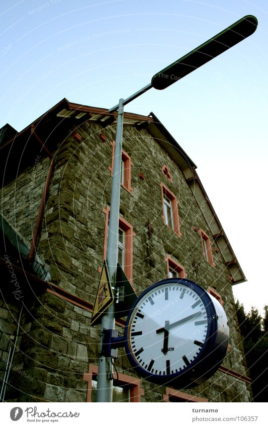 Old Blue Building Wait Architecture Time Facade Clock Lantern Train station Late Clock hand Masonry Why Lateness