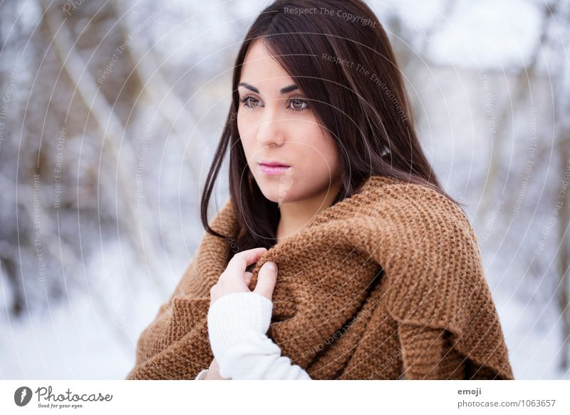 ice age Feminine Young woman Youth (Young adults) Face 1 Human being 18 - 30 years Adults Winter Snow Scarf Bright Uniqueness Cold Colour photo Exterior shot