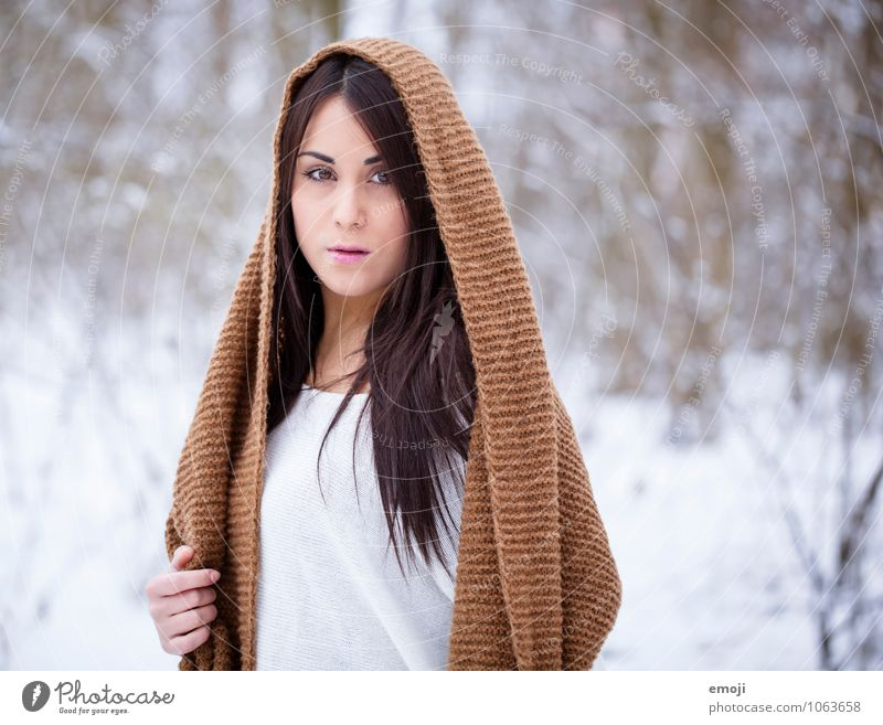 outside Feminine Young woman Youth (Young adults) 1 Human being 18 - 30 years Adults Winter Snow Beautiful Cold Colour photo Exterior shot Day