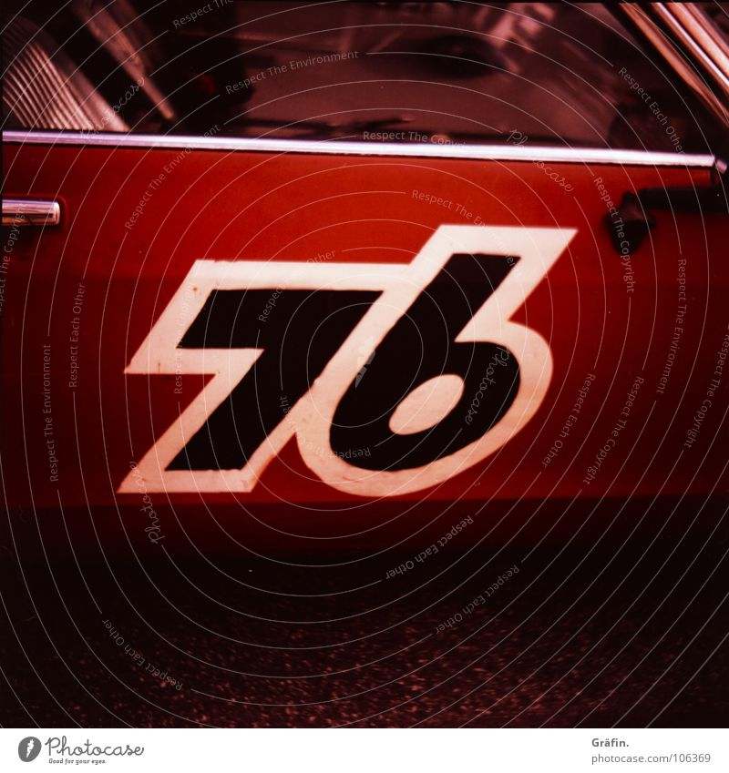 76 Digits and numbers Retro Lomography Cross processing Red Black White Bordered Motor vehicle Label Door handle Industry Car old cross Varnish paint