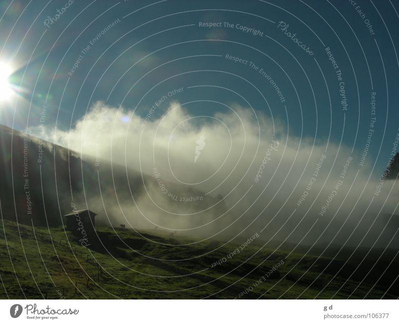 Sky Sun Blue Clouds Meadow Mountain Hut Dynamics Alpine pasture