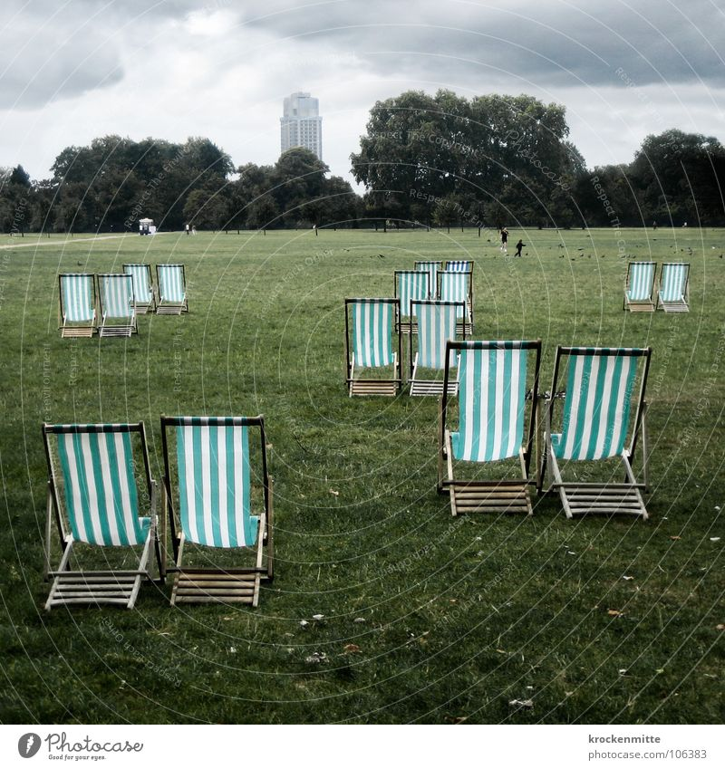 Green Vacation & Travel Summer Clouds Forest Relaxation Meadow Grass Park In pairs Chair London England Deckchair Bad weather English