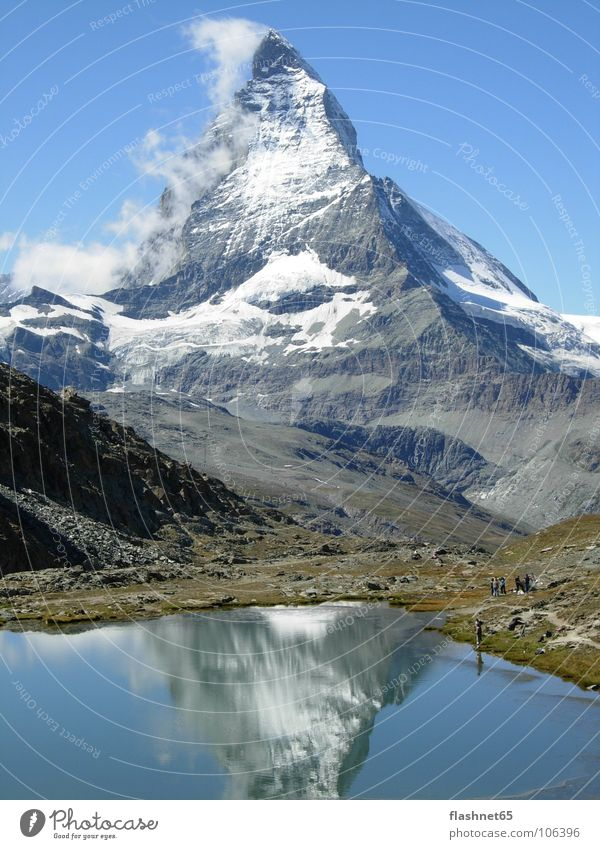 Autumn Mountain Switzerland Monument Lake Landmark Mountain lake Matterhorn Canton Wallis Autumnal weather