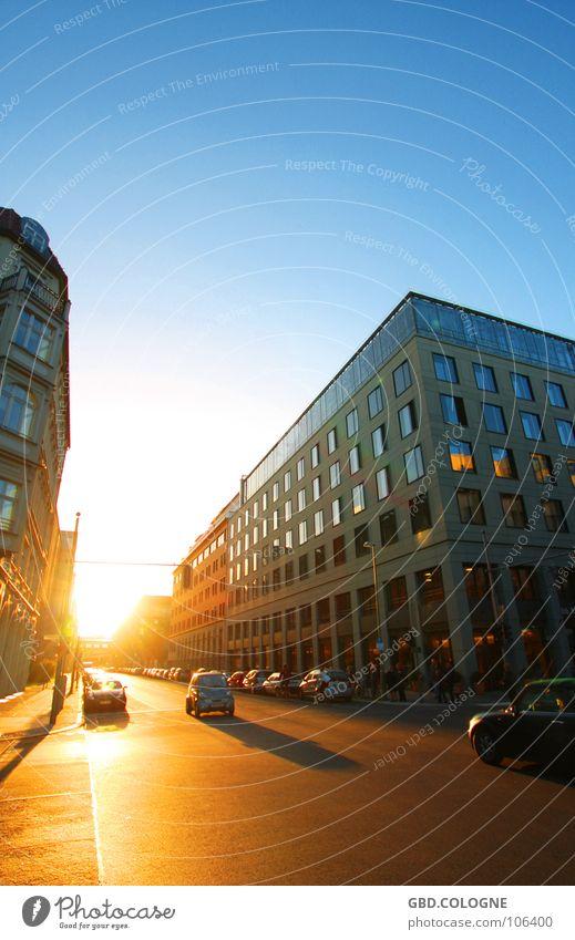 Sky Sun Blue Vacation & Travel Street Berlin Autumn Car Building Orange Transport Perspective Traffic infrastructure Dusk