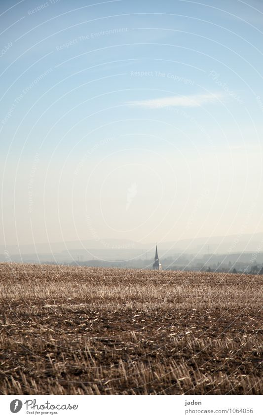 to find your way home. Sightseeing Environment Nature Landscape Horizon Spring Agricultural crop Field Church Signs and labeling Gloomy Blue Peaceful Serene