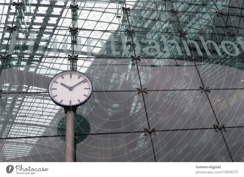 Vacation & Travel Berlin Time Germany Facade Clock Transport Europe Railroad Driving Construction Train station Station Glas facade Train travel Prompt