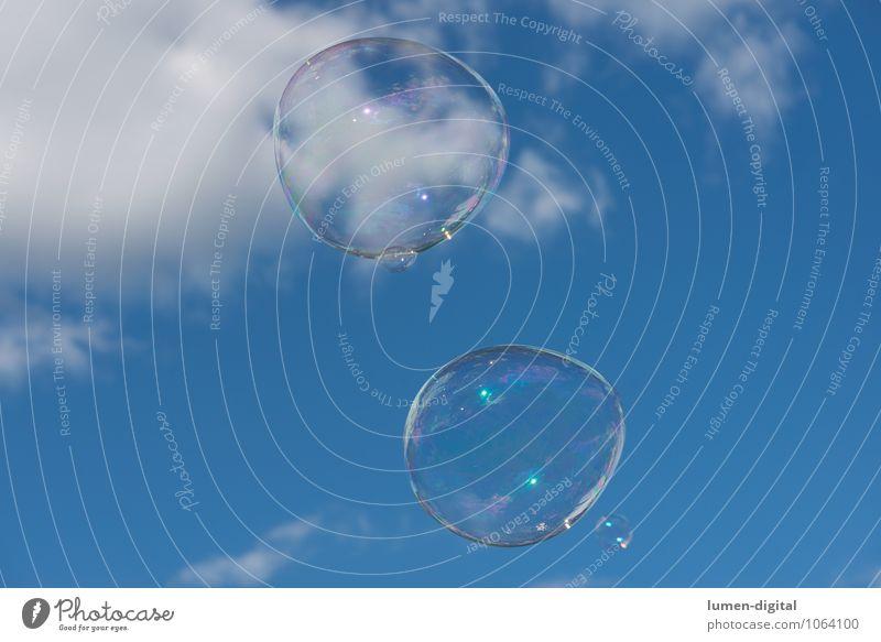 Sky Blue White Summer Clouds Large Transparent Soap bubble