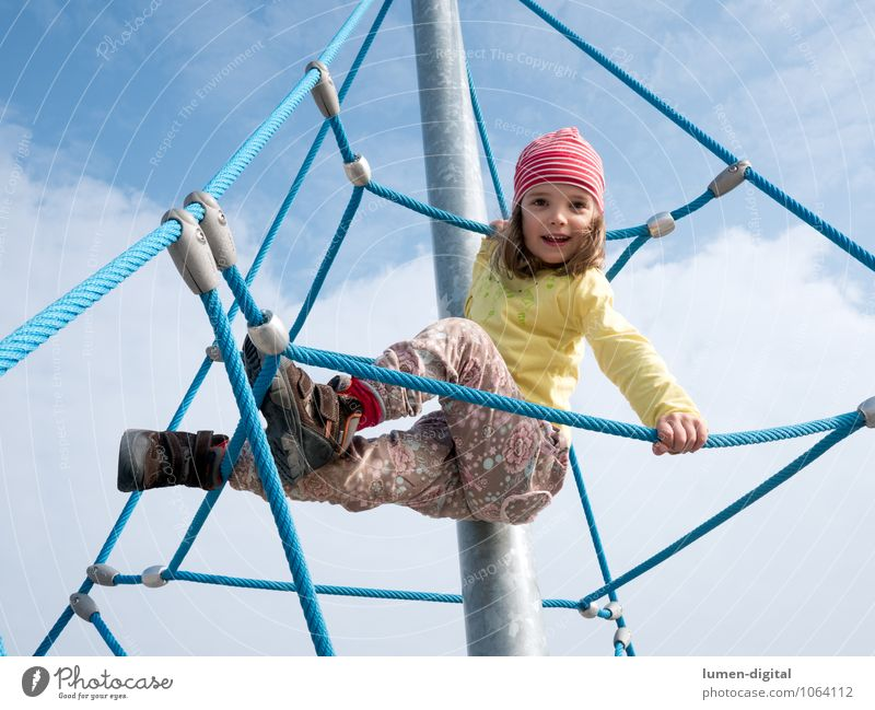 Girl on climbing frame Joy Climbing Mountaineering Child Rope Human being Infancy 1 3 - 8 years Pants Cap To hold on Laughter Playing Tall Above Happy Happiness