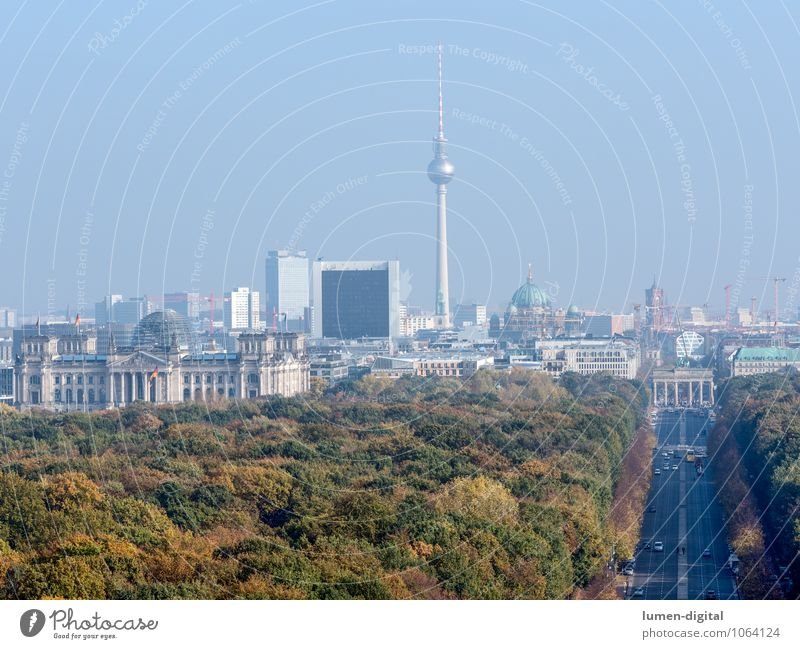 Berlin Autumn Park Germany Europe Town Capital city Downtown Skyline Dome City hall Reichstag Berlin TV Tower Berlin zoo Traffic infrastructure Road traffic