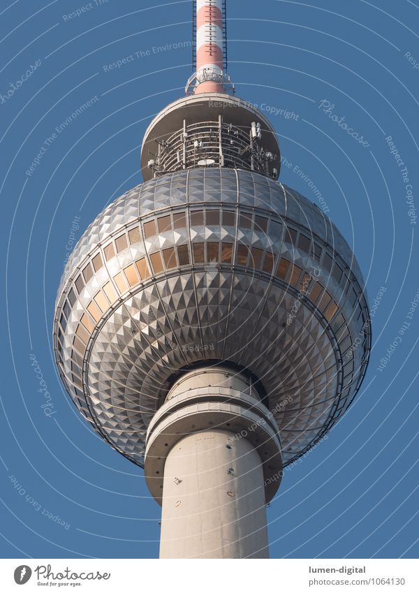 Berlin Television Tower Tourism Restaurant Federal eagle Europe Capital city Tourist Attraction Landmark Berlin TV Tower Sphere Tall Round Blue Silver