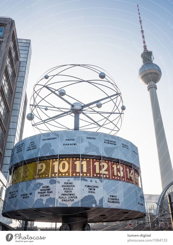 World time clock with television tower Tourism Clock Berlin Germany Europe Capital city Tower Tourist Attraction Landmark Transience Change Alexanderplatz
