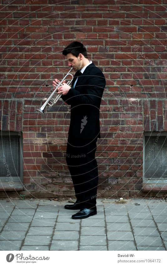 Jazz improvisation trumpet Elegant Style Leisure and hobbies Playing Night life Entertainment Music Feasts & Celebrations Masculine Young man