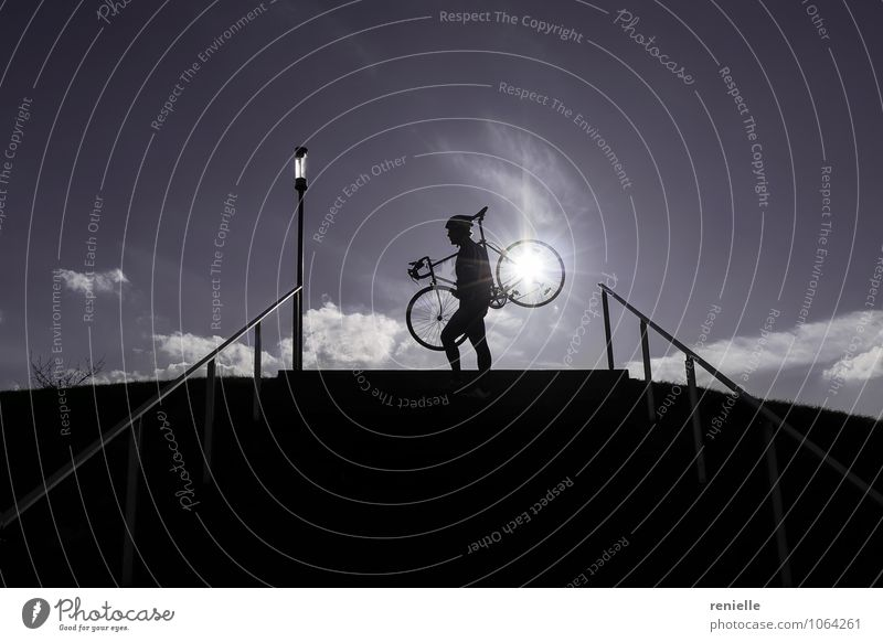 Sunny Side Up! Human being Blue Joy Black Sports Horizon Dream Authentic Stand Tall To enjoy Joie de vivre (Vitality) Fitness Cycling Adventure