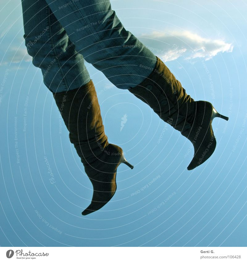 hanging in the air Hang Dangle Kick about Fidget Go up Boots Pants Clouds Hover Air Heavenly Sky blue Obscure Woman Clothing Flying soar leather boots Landing
