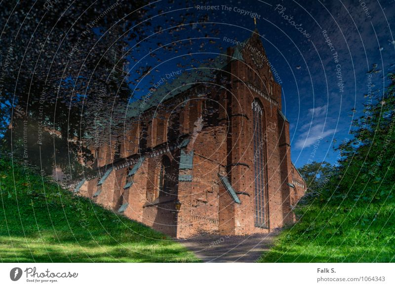 Way to heaven Water Sky Summer Meadow Lanes & trails Deserted Church Manmade structures Building Architecture Brick Tourist Attraction Landmark Old Gigantic
