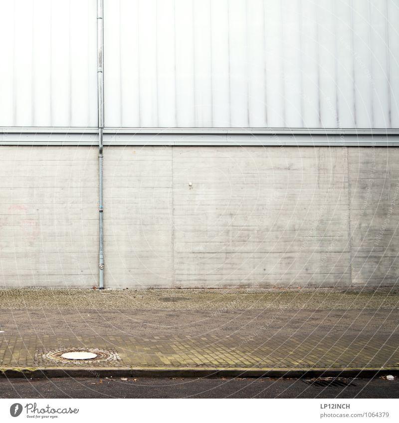 B+RLIN Industrial plant Factory Building Wall (barrier) Wall (building) Facade Street Lanes & trails Retro Town Esthetic Design Precision Symmetry Sidewalk