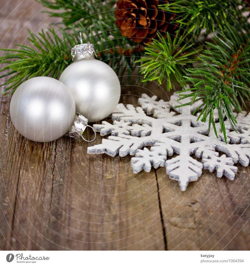 Christmas & Advent Winter Decoration Happiness Card Christmas tree Fir tree Santa Claus Glitter Ball Festive Christmas decoration Wooden table December