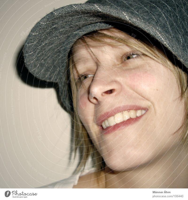 Woman Joy Face Laughter Gray Hair and hairstyles Blonde Clothing Cap Pinstripe Baseball cap