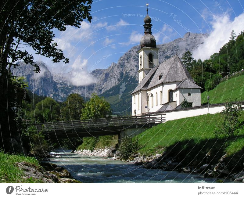 Nature Summer Vacation & Travel Clouds Relaxation Mountain Landscape Religion and faith Bridge Idyll Berchtesgaden Bavaria Brook House of worship