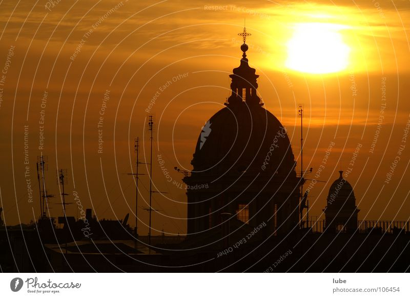 Sunset in Rome Domed roof Antenna Mood lighting House of worship dome Religion and faith church dome