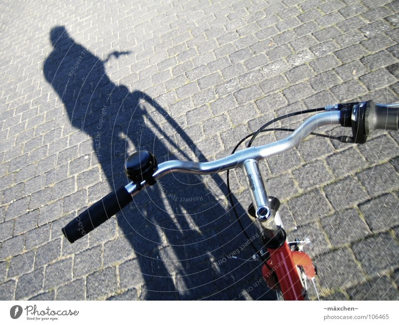 ...on the way... Bicycle Lamp Red Bar Cobblestones Freehand In transit Vacation & Travel Acceleration Dangerous Cycle race Speed Transport Playing